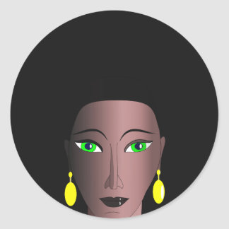 AFRO WOMAN Classic Round Sticker