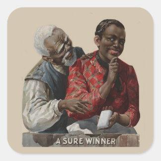 Afroamericano 1895 del anuncio del cigarro del pegatina cuadrada
