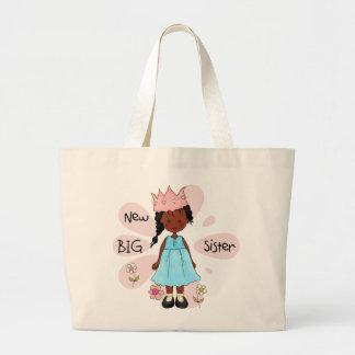 Afroamericano de la princesa hermana grande bolsa tela grande