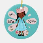 Afroamericano de la princesa hermana grande adorno de navidad
