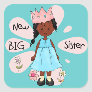 Afroamericano de la princesa hermana grande pegatina cuadrada