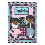 Afroamericano de la tarjeta de cumpleaños del salt