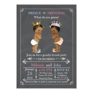 """Afroamericano del príncipe o de princesa Gender Invitación 5"""" X 7"""""""