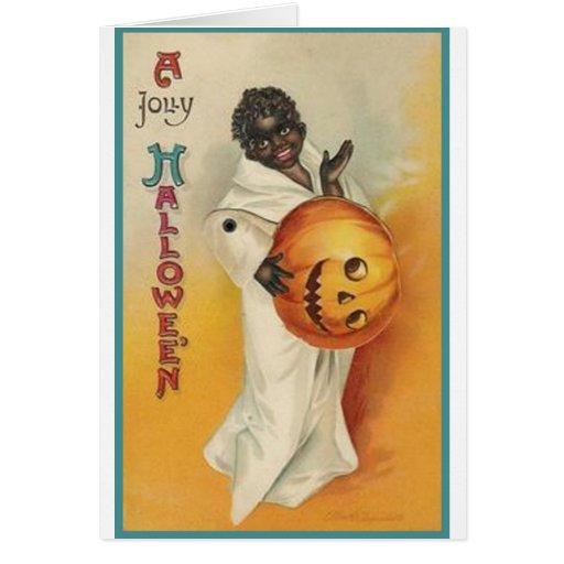 Afroamericano Halloween del vintage Felicitaciones
