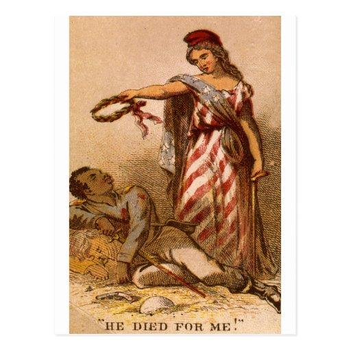 Afroamericano que muere - imagen 1863 de la guerra tarjeta postal