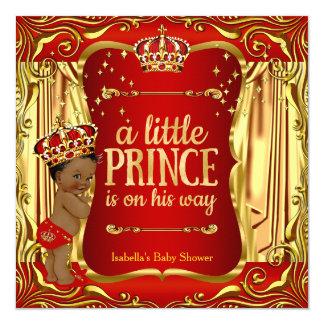 """Afroamericano rojo del oro del príncipe fiesta de invitación 5.25"""" x 5.25"""""""
