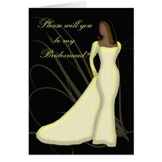 Afroamericano usted será mi dama de honor Lemmon Felicitacion