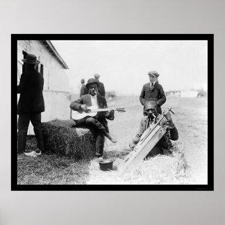 Afroamericanos con los Kazoos y una guitarra 1914 Póster