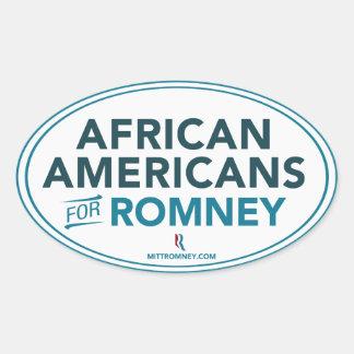 Afroamericanos para Mitt Romney 2012 (blanco) Pegatina Ovalada