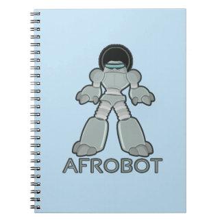 Afrobot - Robot with Afro Spiral Notebook