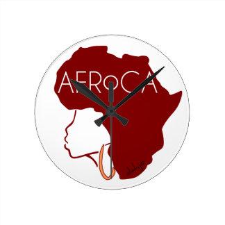 AFROCA . AFRO plus AFRICA (female) Round Clock