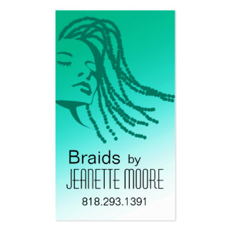 Afrocentric Braids Hair Stylist - aqua Double-Sided Standard Business Cards (Pack Of 100)