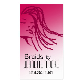 Afrocentric Braids Hair Stylist - fuschia Double-Sided Standard Business Cards (Pack Of 100)