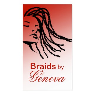 Afrocentric Braids Hair Stylist - red Business Card