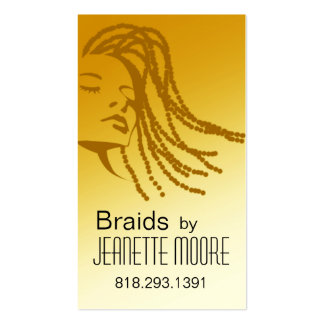 Afrocentric Braids Hair Stylist - yellow Double-Sided Standard Business Cards (Pack Of 100)