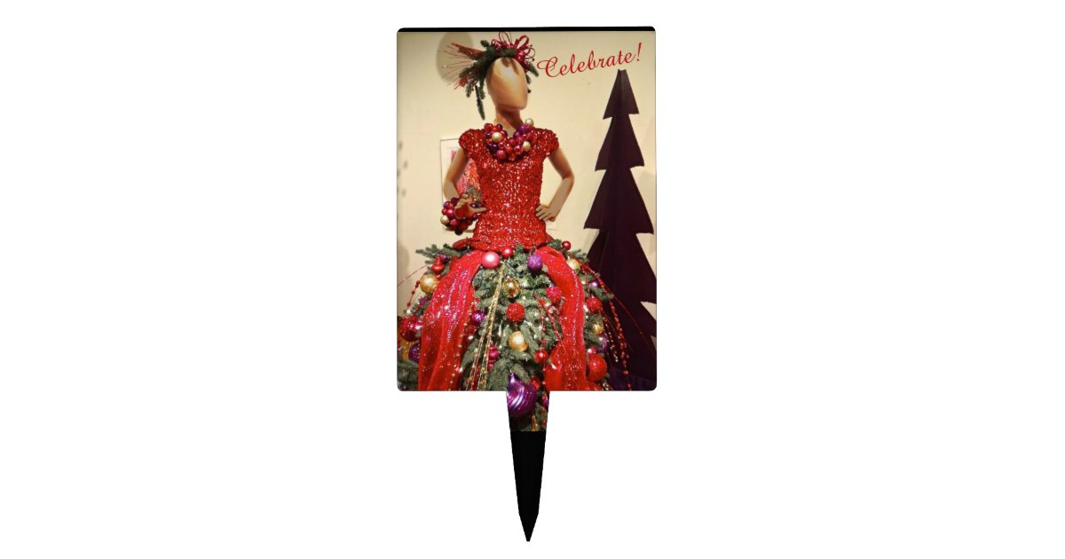 Christmas Tree Mannequin Dress.Afrocentric Dress Form Mannequin Christmas Tree Cake Topper Zazzle Com