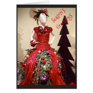 Afrocentric Dress Form Mannequin Christmas Tree Card