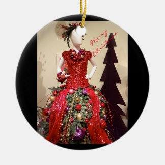 Afrocentric Dress Form Mannequin Christmas Tree Ceramic Ornament