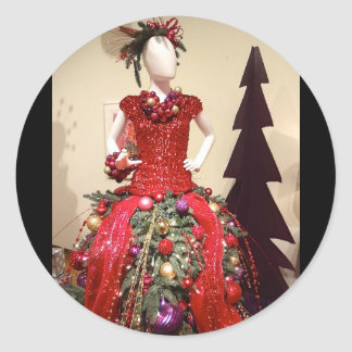 Afrocentric Dress Form Mannequin Christmas Tree Classic Round Sticker