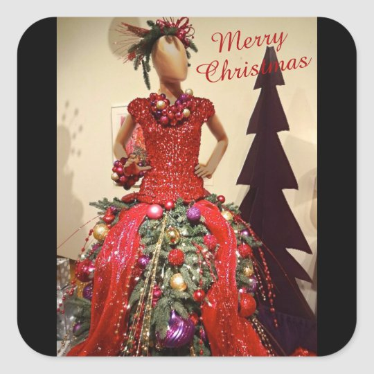 Dress Form Christmas Tree.Afrocentric Dress Form Mannequin Christmas Tree Square Sticker