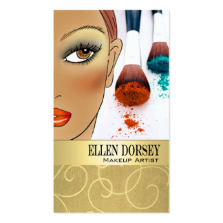 Afrocentric Makeup Artist Illustration Double-Sided Standard Business Cards (Pack Of 100)