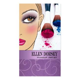 Afrocentric Makeup Artist Illustration (lilac) Business Card