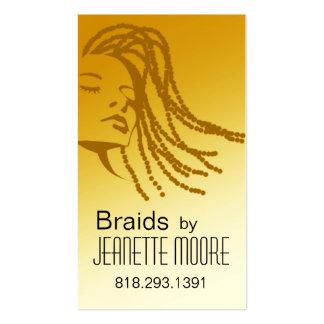 Afrocentric trenza al estilista - amarillo tarjetas de visita
