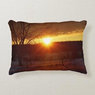 After A Snowstorm Sunset Accent Pillow