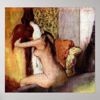 After bathing by Edgar Degas Print