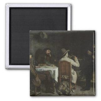 After Dinner at Ornans, 1848 2 Inch Square Magnet