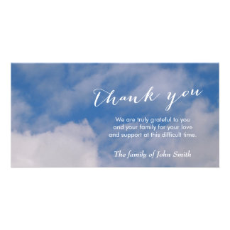 After Funeral Sky & Clouds Memorial Thank You Photo Card