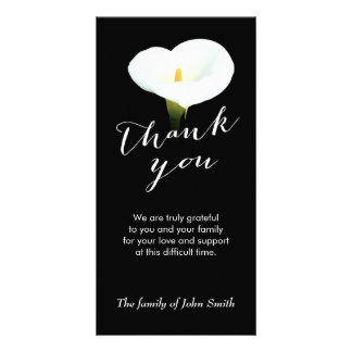 After Funeral White Lily Flower Memorial Thank You Card