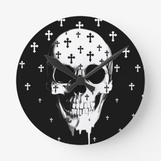 After market, gothic skull with crosses round wall clocks