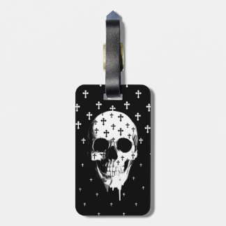 After market, gothic skull with crosses luggage tag