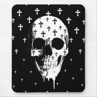 After market, gothic skull with crosses mouse pad