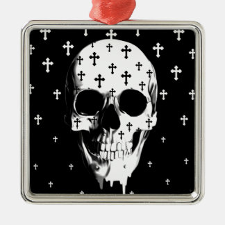 After market, gothic skull with crosses christmas ornaments