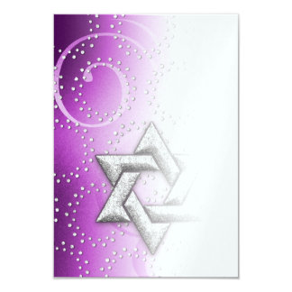 After Party Raspberry Shimmer Star of David 3.5x5 Paper Invitation Card