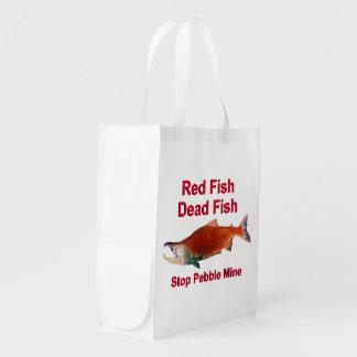 After Salmon - Stop Pebble Mine Reusable Grocery Bag