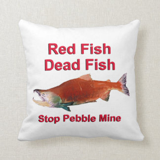 After Salmon - Stop Pebble Mine Throw Pillow