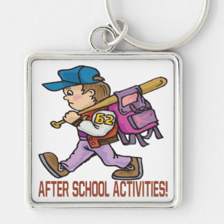 After School Activities Silver-Colored Square Keychain