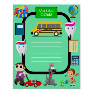 After School Chores Children's Posters