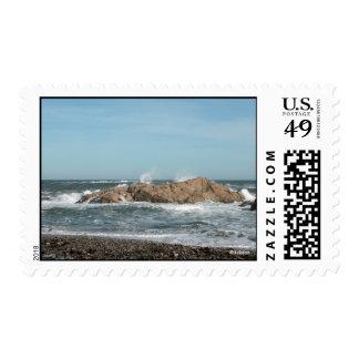 After Storm Waves Crash on Coastal Rocks Postage
