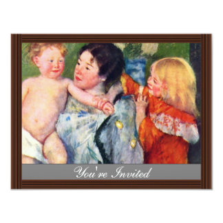 After The Bath By Cassatt Mary (Best Quality) 4.25x5.5 Paper Invitation Card