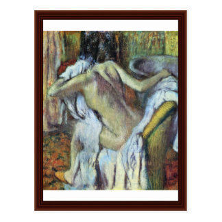 After The Bath To Dry Wife By Edgar Degas Post Card