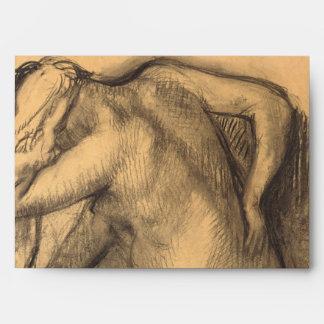 After the Bath Woman Drying Hair by Edgar Degas Envelope