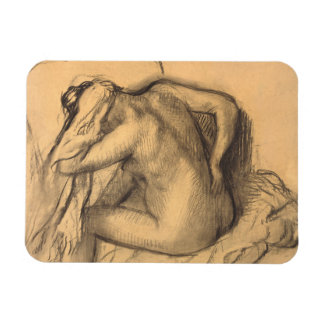 After the Bath Woman Drying Hair by Edgar Degas Magnet