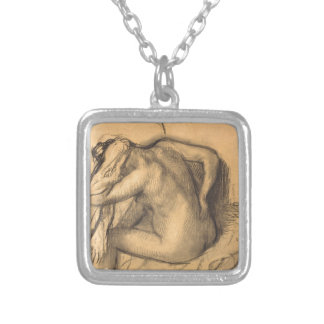 After the Bath Woman Drying Hair by Edgar Degas Silver Plated Necklace
