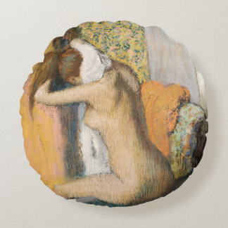 After the Bath, Woman Drying her Neck, 1898 Round Pillow