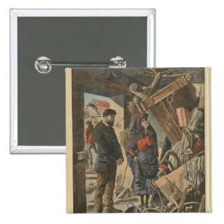 After the disaster fro  'Le Petit Journal' 2 Inch Square Button