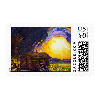 After the Dust Clears Prairie Postage Stamp